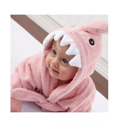 Funky Shark Baby Dressing Gown Pink