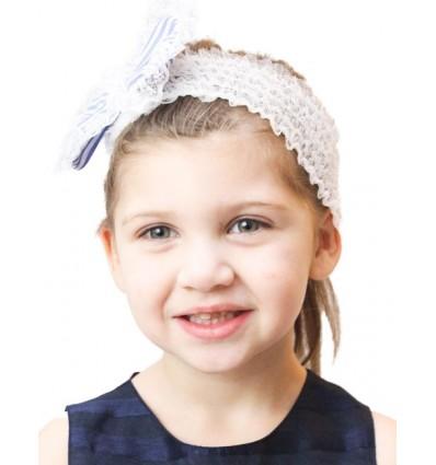 Luxury Lace Fabric Baby Blue Stripe Headband