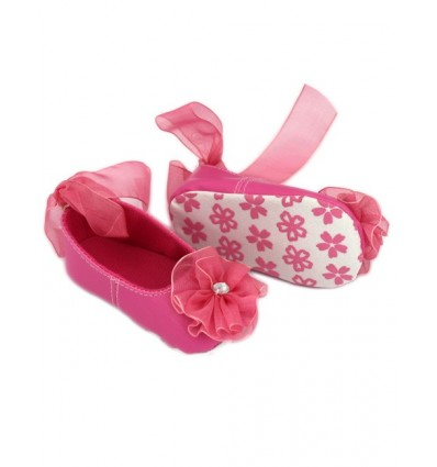 Luxury Hot Pink Flower Party Baby Shoes