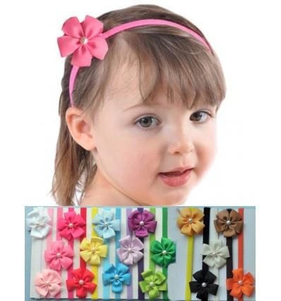 5 Petal Pearl Comfy Stretch Baby Headband
