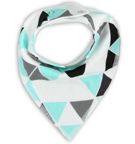 Funky Bandana Dribble Bib - Aqua Multi Triangle