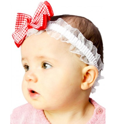 Checked Bow and Stretch Lace Baby Headband