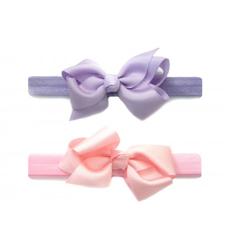Comfy Stretch Headband & Bow - 2 pack - Lilac & Pink