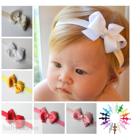 Luxury Classic Bow Headband on Silky Stretch Band